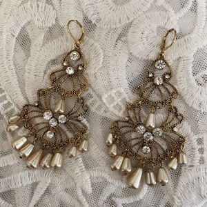 Vintage CH Drippy Pearl Rhinestone Earrings